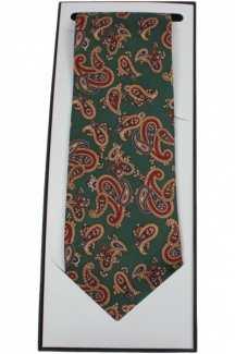 Luxury Forest Green Vintage Paisley Silk Tie Supplied In Gift Box